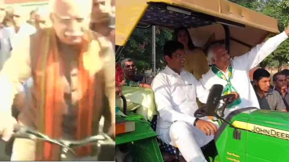 હરિયાણા ચૂંટણી: દુષ્યંત ચૌટાલા ટ્રેક્ટર પર તો CM ખટ્ટર સાઈકલ ચલાવી મત આપવા પહોંચ્યા