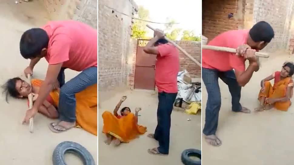 માત્ર 10 રૂપિયા માટે પતિએ પત્નીને લાકડીથી માર મારી અધમૂઈ કરી, બાળકો પાસે બનાવડાવ્યો Video