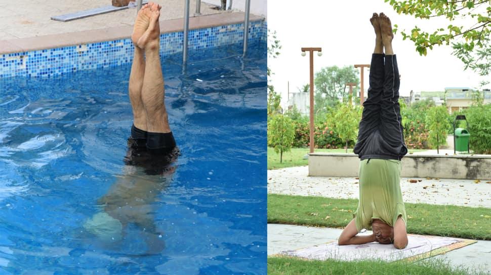 World Yoga Day: જમીન કે ગ્રાઉન્ડ પર નહી, પણ પાણીમાં યોગ કરે છે ૬૧ વર્ષિય યોગ સાધક