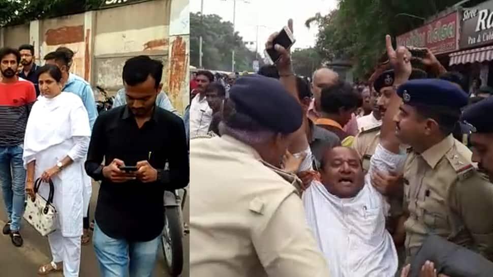 જામનગર: ટીંગાટોળી કરી પોલીસે કરી કાર્યકરોની અટકાયત