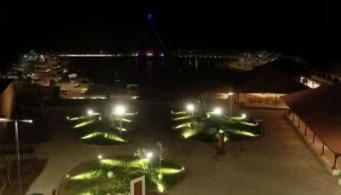 night view with drone of Namak Satyagrah Smarak in Dandi