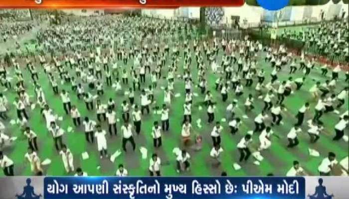 Yoga practice by PM Modi and CM Rupani