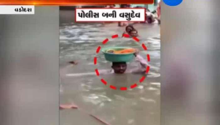 Vadodra: Police Man Saves 45 Days Old Baby Amidst Heavy Rains