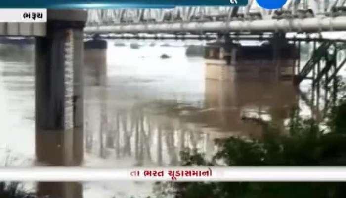 Bharuch: Water Level Of Narmada Rises At Golden Bridge