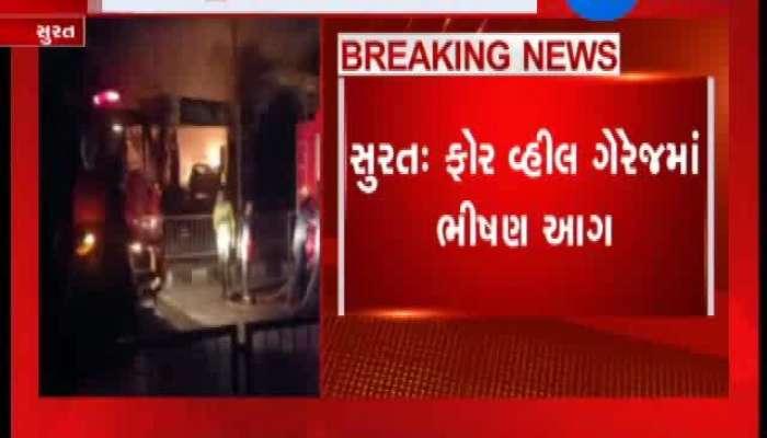 A Fiery Fire In A Four Wheel Garage In Surat
