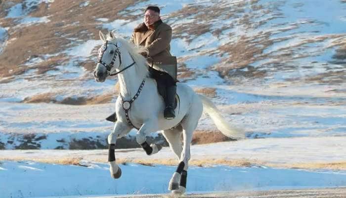 ઉત્તર કોરિયાના નેતા કિમ જોંગ ઉને 'પવિત્ર પર્વત' પર દોડાવ્યો સફેદ ઘોડો