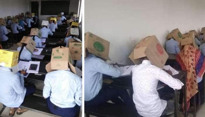 અહો વૈચિત્ર્યમ ! કર્ણાટકમાં ચોરી રોકવા માટે વિદ્યાર્થીઓને ફરજિયાત પહેરાવ્યા ખોખા ...!!!