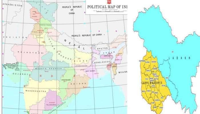ભારત સરકારે જાહેર કર્યો જમ્મુ-કાશ્મીર અને લદ્દાખનો નવો નકશો, PoKનો પણ સમાવેશ