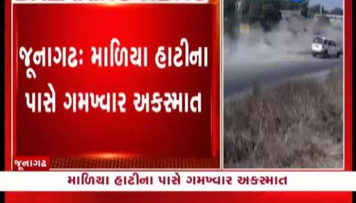 accident at maliya Hatina and lions reach Rajkot