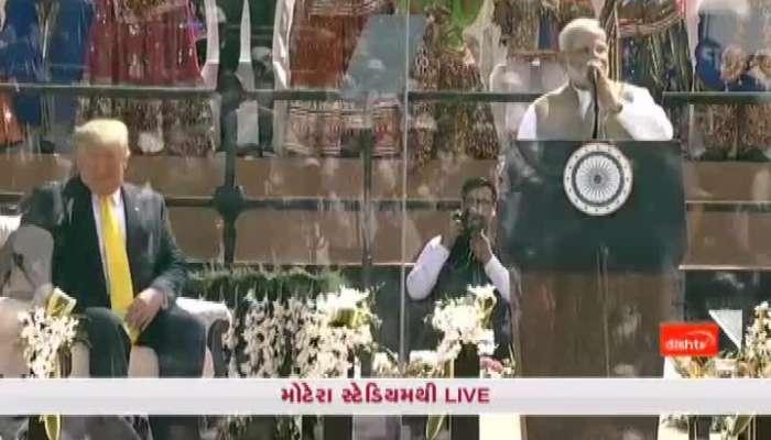 PM modi speech after donald trump address at motera stadium watch video on zee 24 kalak