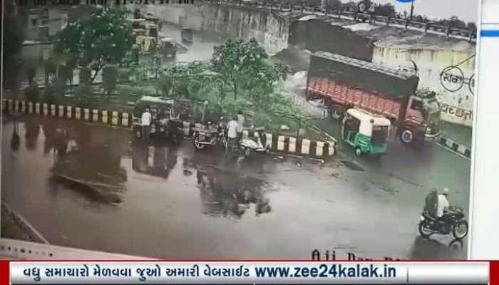 Rajkot Overbridge wall collapses at Aji Dam incident captured in CCTV footage