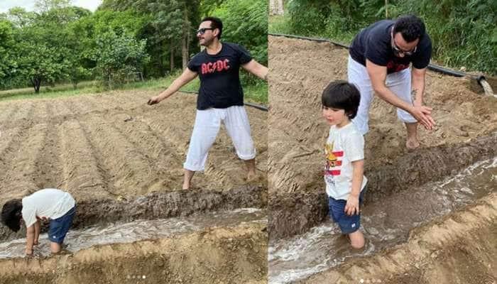 પિતા Saif Ali Khan સાથે ખેતી કરતો જોવા મળ્યો Taimur Ali Khan, જુઓ PHOTOS