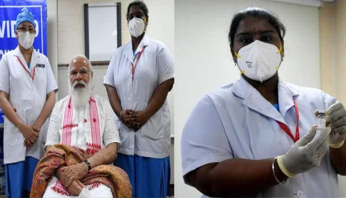 Corona Vaccine લગાવ્યા પછી PM Modi એ નર્સ સાથે કરી વાત, કહ્યું- વેક્સીન લગાવી દીધી, ખબર ન પડી