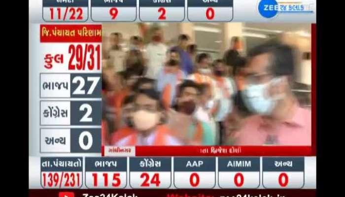 Gujarat BJP: BJP's victory celebration in Kamalam, CM Rupani and CR Patil claim victory