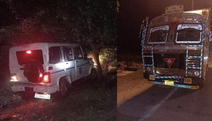 પાલનપુર-આબુ હાઇવે પર પોલીસવાનને ટક્કર મારતાં 4 પોલીસકર્મી ઘાયલ