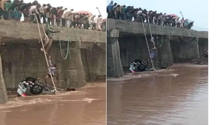 રાવકી નદીમાં કાર તણાઈ, સ્થાનિક લોકોએ રેસ્ક્યૂ કરી બે મહિલાઓને બચાવી, નિવૃત્ત બેંક કર્મચારીનું મોત